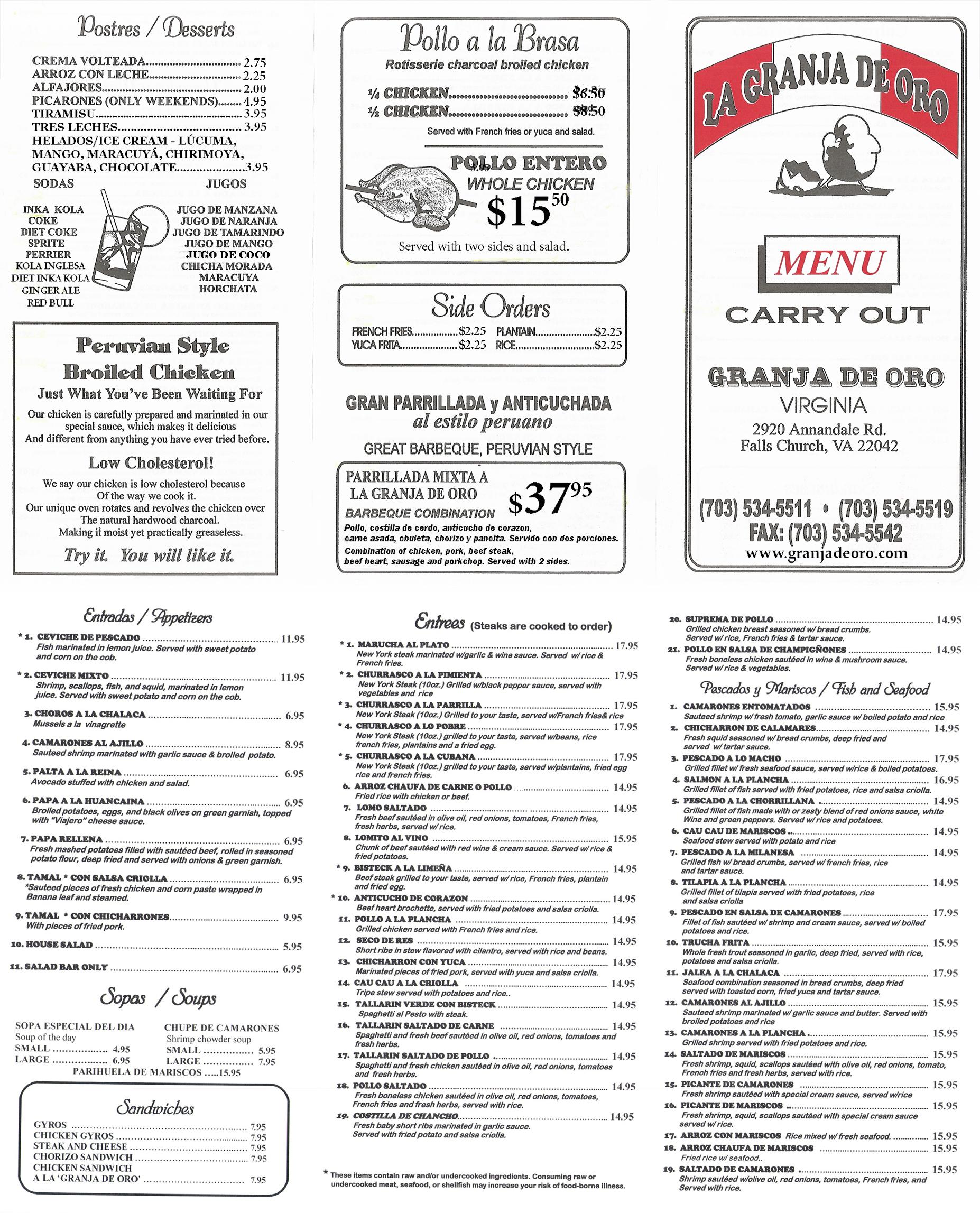 Granja de oro for Carryout menu